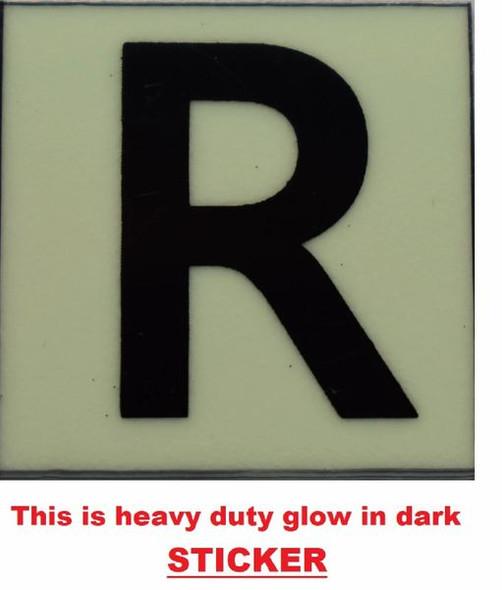 PHOTOLUMINESCENT DOOR NUMBER R SIGN GLOW IN DARK