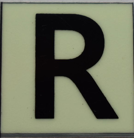 PHOTOLUMINESCENT DOOR NUMBER R SIGN GLOW IN TH  Sign