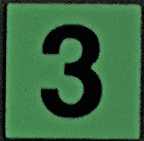 PHOTOLUMINESCENT DOOR NUMBER 3 SIGN GLOW IN DARK