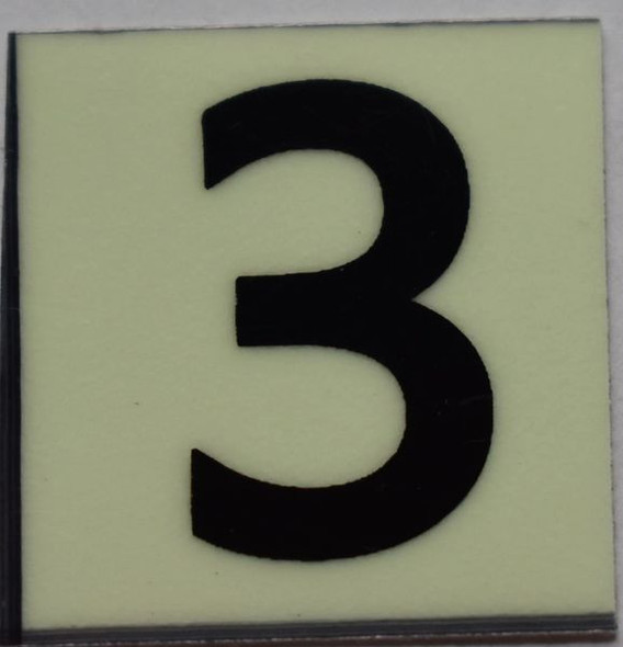 PHOTOLUMINESCENT DOOR NUMBER 3 SIGN GLOW IN TH  Sign