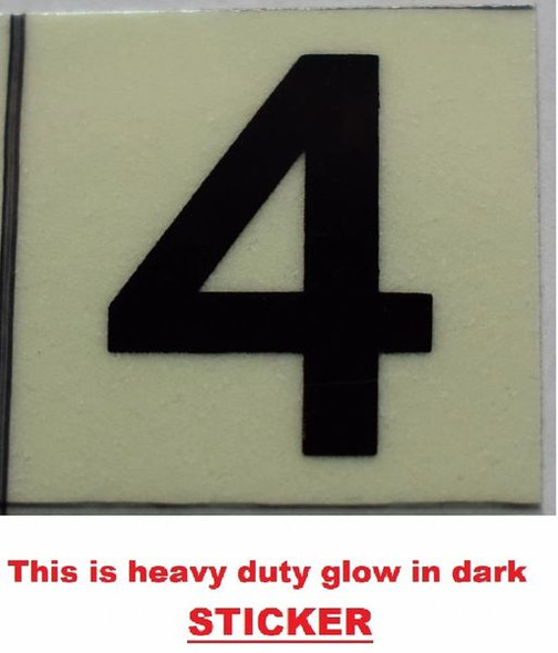 PHOTOLUMINESCENT DOOR NUMBER 4 SIGN GLOW IN TH  Sign