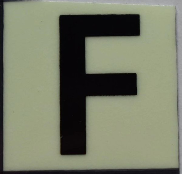 PHOTOLUMINESCENT DOOR NUMBER F SIGN GLOW IN TH  Sign
