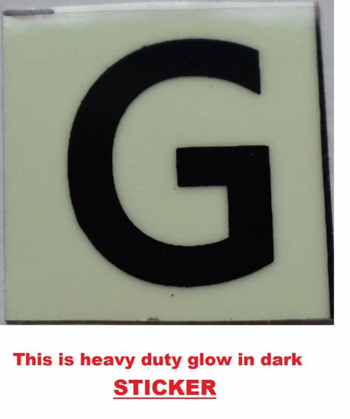 PHOTOLUMINESCENT DOOR NUMBER G SIGN GLOW IN TH  Sign