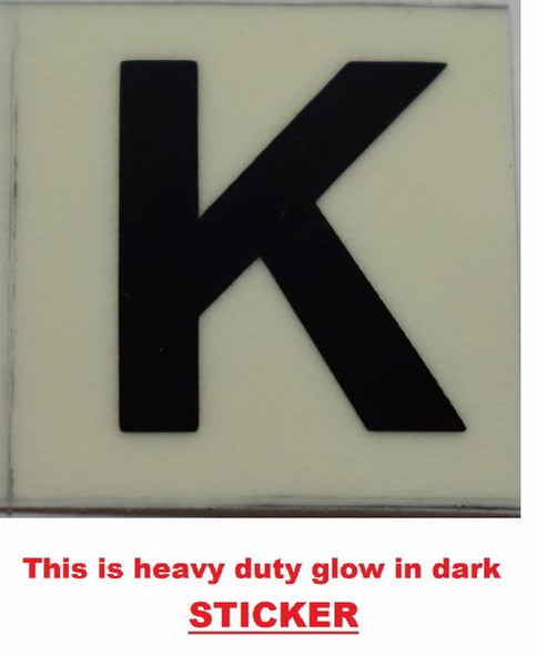 PHOTOLUMINESCENT DOOR NUMBER K SIGN GLOW IN TH  Sign