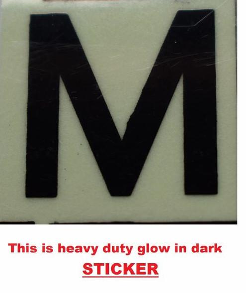PHOTOLUMINESCENT DOOR NUMBER M SIGN  GLOW IN DARK