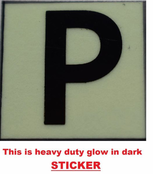 PHOTOLUMINESCENT DOOR NUMBER P SIGN GLOW IN TH  Sign