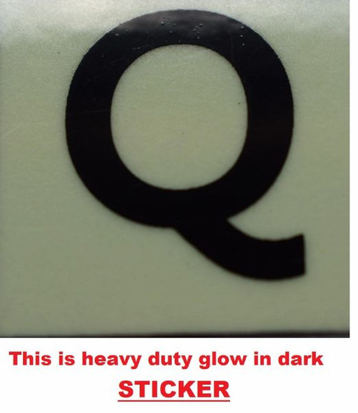 PHOTOLUMINESCENT DOOR NUMBER Q SIGN GLOW IN TH  Sign
