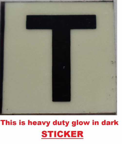 PHOTOLUMINESCENT DOOR NUMBER T SIGN GLOW IN TH  Sign