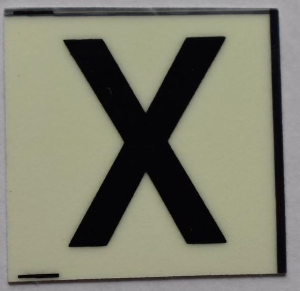 PHOTOLUMINESCENT DOOR NUMBER X SIGN  GLOW IN DARK