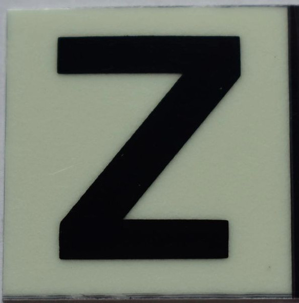 PHOTOLUMINESCENT DOOR NUMBER Z SIGN GLOW IN TH Sign