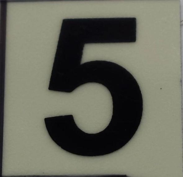 PHOTOLUMINESCENT DOOR NUMBER 5 SIGN  GLOW IN DARK
