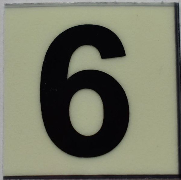 PHOTOLUMINESCENT DOOR NUMBER 6 SIGN GLOW IN TH Sign