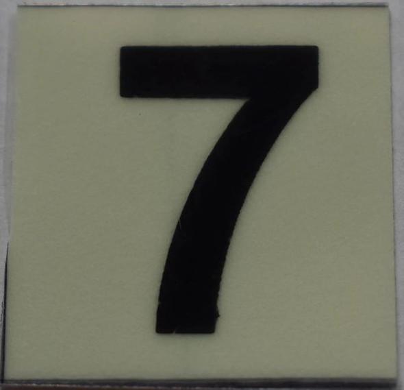 PHOTOLUMINESCENT DOOR NUMBER 7 SIGN   GLOW IN DARK