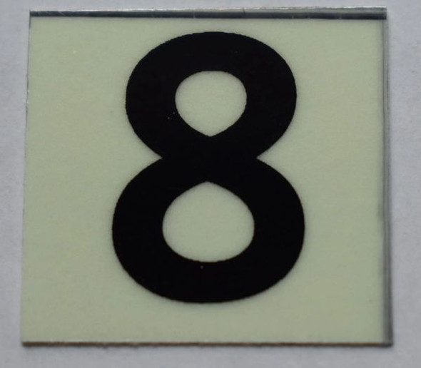 PHOTOLUMINESCENT DOOR NUMBER 8 SIGN   GLOW IN DARK