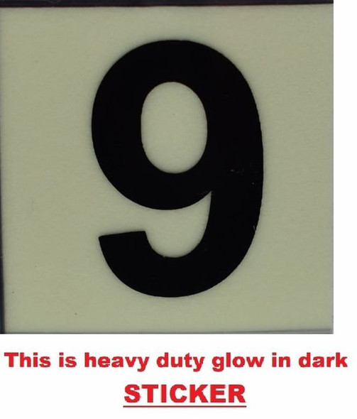 PHOTOLUMINESCENT DOOR NUMBER 9 SIGN  GLOW IN TH  Sign