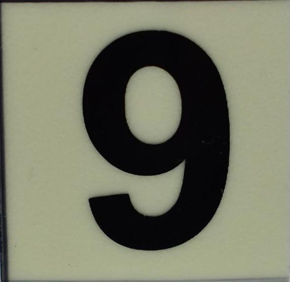 PHOTOLUMINESCENT DOOR NUMBER 9 SIGN  GLOW IN DARK