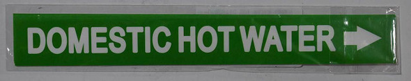 Set of 5 PCS - Pipe Marking-Domestic Hot Water Signage