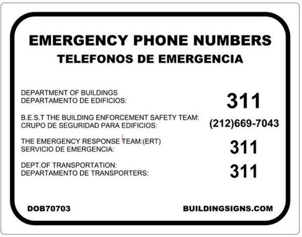 EMERGENCY PHONE NUMBERS - DOB