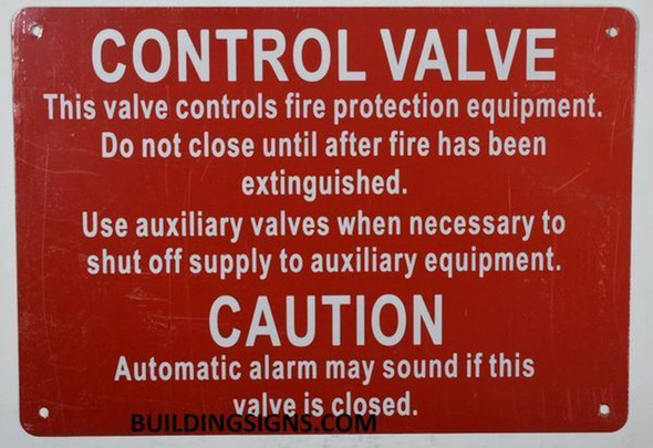 CONTROL VALVE- THIS VALVE CONTROLS FIRE PROTECTION EQUIPMENT  Signage
