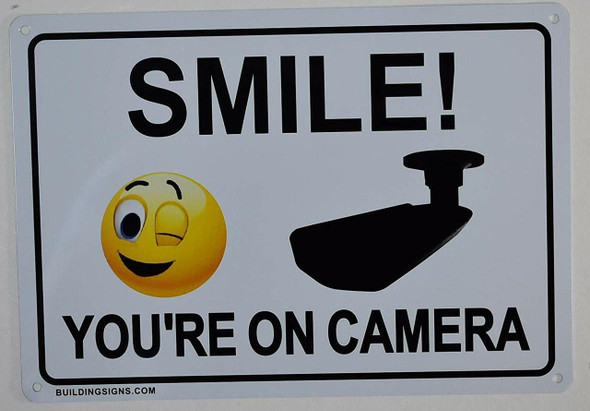2 Pack -Smile You're On Camera Sign (White, miniu signs