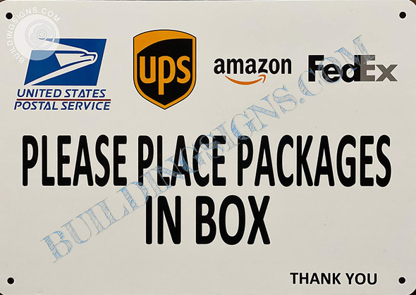 Signage Please Place Packages in Box