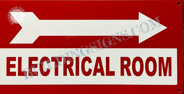 Signage Electrical Room  Right Arrow