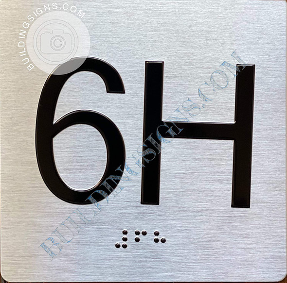 Sign Apartment Number 6H  with Braille and Raised Number