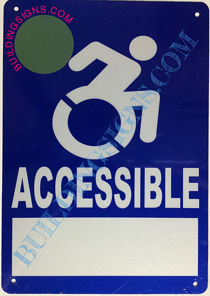 ACCESSIBLE  Signage with Option to Put Contact-Rust