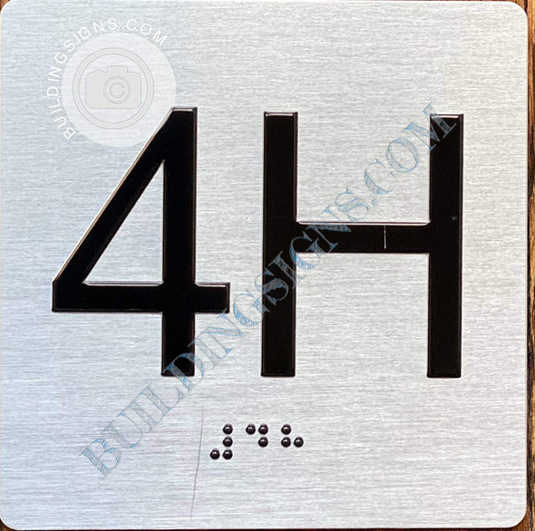 Signage Apartment Number 4H  with Braille and Raised Number