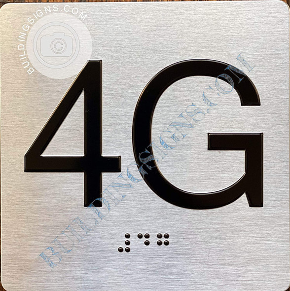Signage Apartment Number 4G  with Braille and Raised Number
