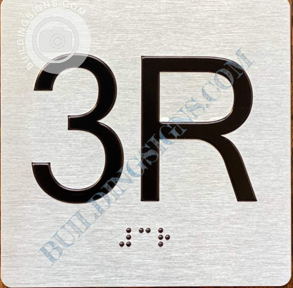 Sign Apartment Number 3R  with Braille and Raised Number
