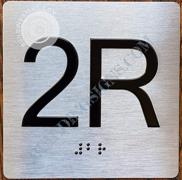 Sign Apartment Number 2R  with Braille and Raised Number