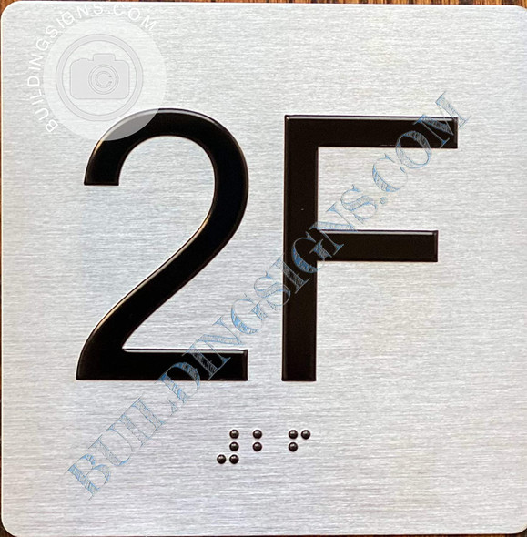 Sign Apartment Number 2F  with Braille and Raised Number