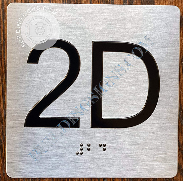 Sign Apartment Number 2D  with Braille and Raised Number