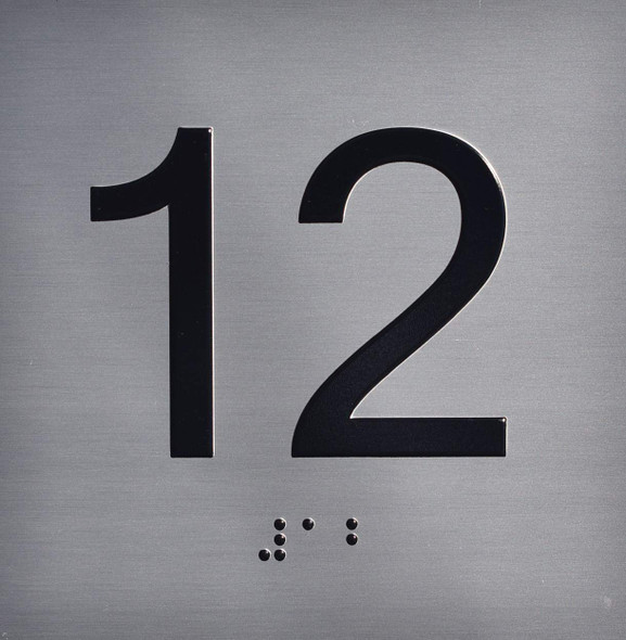 Apartment Number 12 Sign with Braille and Raised Number