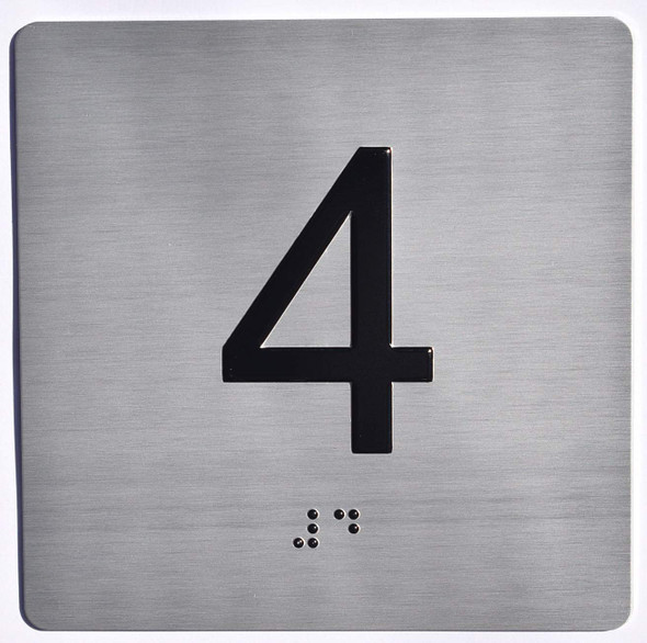 Apartment Number 4 Sign with Braille and Raised Number