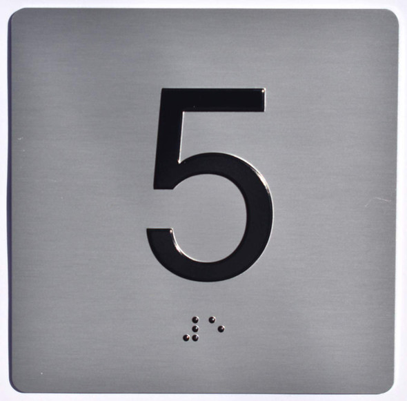 Apartment Number 5 Sign with Braille and Raised Number