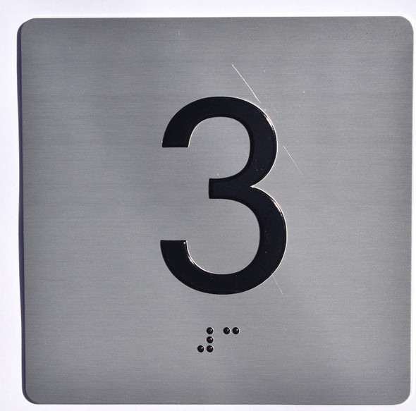 Apartment Number 3 Sign with Braille and Raised Number