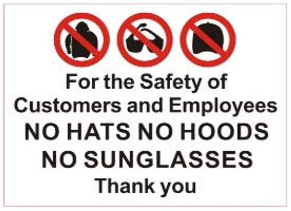 2 pcs -for The Safety of customers and Employees No Hats No Hoods No Sunglasses Thank You -Sticker