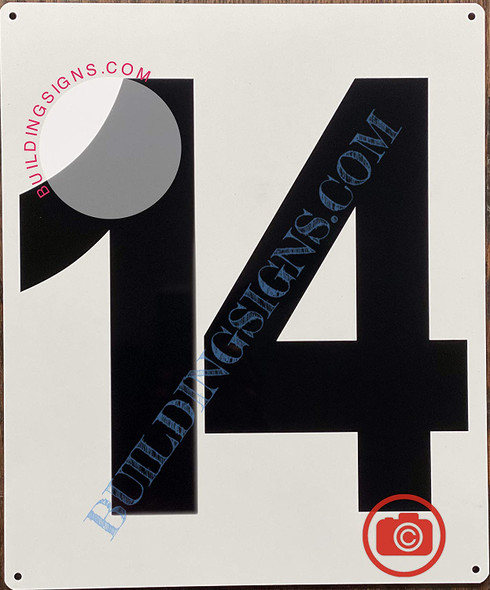 Large Number 14 Sign -Metal Sign - Parking LOT Number Sign