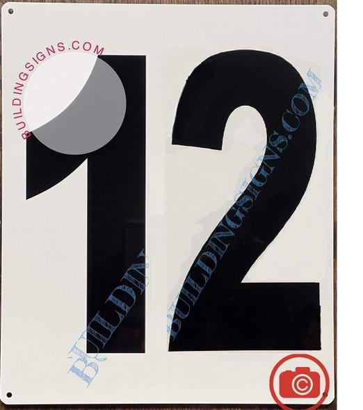 Sign Large Number 12 Sign -Metal