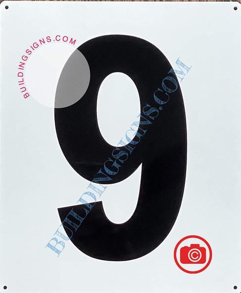 Large Number 9 Sign -Metal Sign - Parking LOT Number Sign
