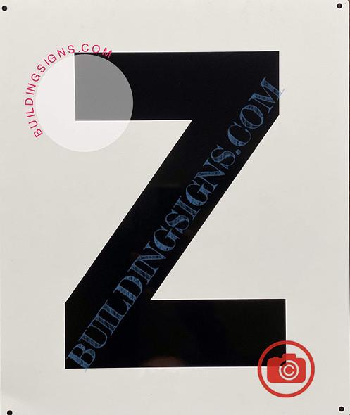 Large Letter Z -Metal Sign - Parking LOT Sign