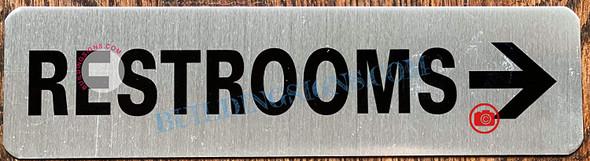 Restroom Right Arrow Sign