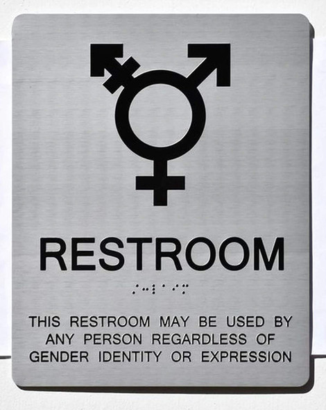 RESTROOM THIS RESTROOM MAY BE USED BY ANY PERSON REGARDLESS OF GENDER IDENTITY OR EXPRESSION SIGN
