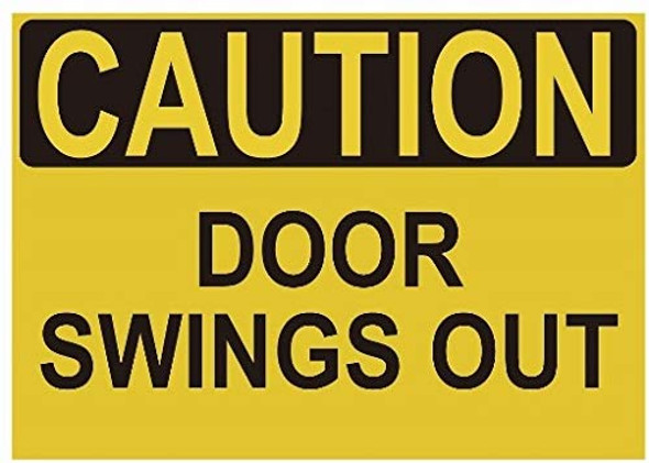 Caution Door Swings Out Label Decal Sticker Singange