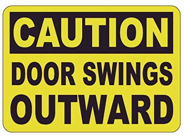 Caution Door Wings Outward Label Decal Sticker Sign