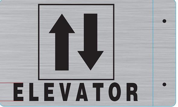 Elevator Projection Sign- Elevator 3D Sign Brush Aluminium,