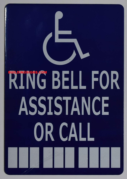 ADA Ring Bell for Assistance OR Call with Symbol  Signage