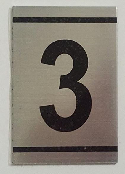 NUMBER  Signage -3 -BRUSHED ALUMINUM